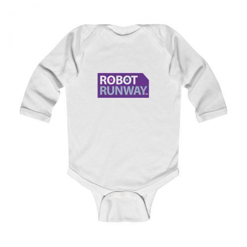 Robot Runway™ Purple Logo Infant Long Sleeve Bodysuit