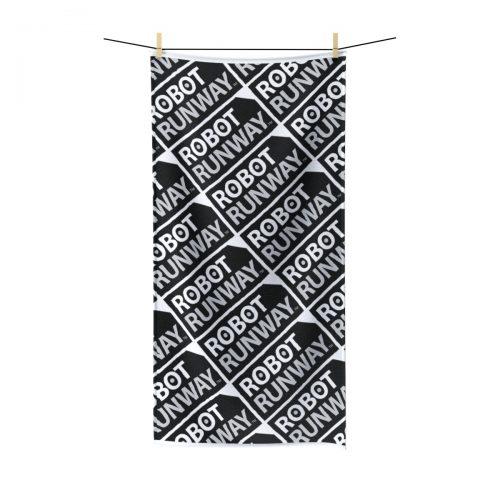 Robot Runway™ Black & White Motif Polycotton Towel
