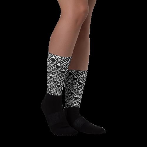 Robot Runway Black & White Logo Socks