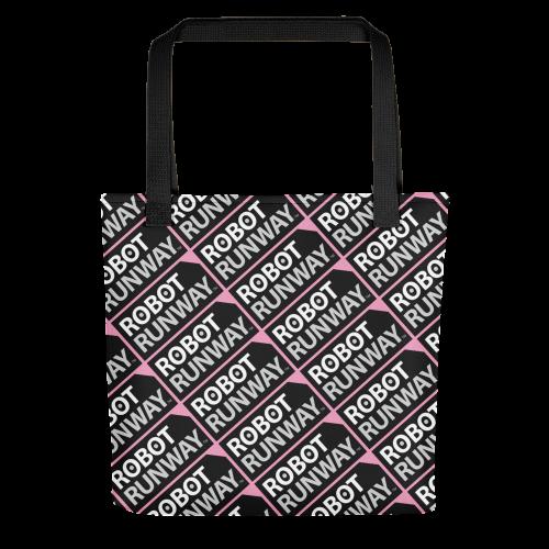 Robot Runway Black-White-Pink Motif Tote bag