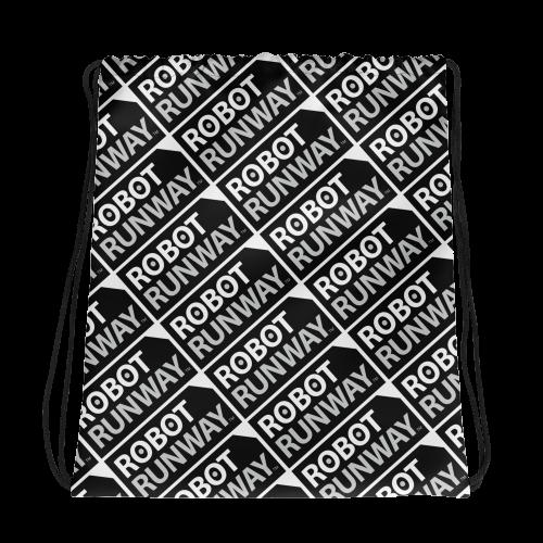 Robot Runway Black & White Motif Drawstring bag