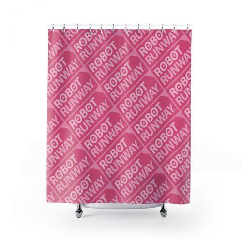 Robot Runway™ Pink Motif Shower Curtains