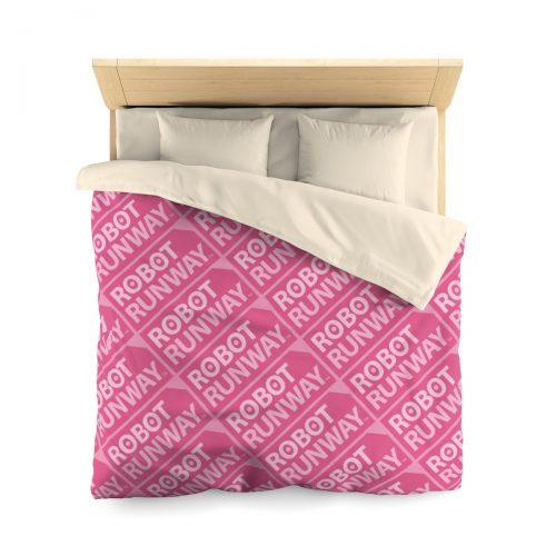 Robot Runway™ Pink Motif Microfiber Duvet Cover