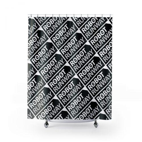 Robot Runway™ Black & White Motif Shower Curtains