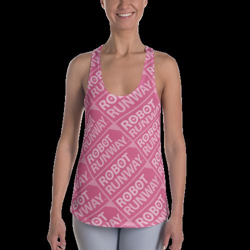 Robot Runway™ Pink Logo Motif Women's Racerback Tank
