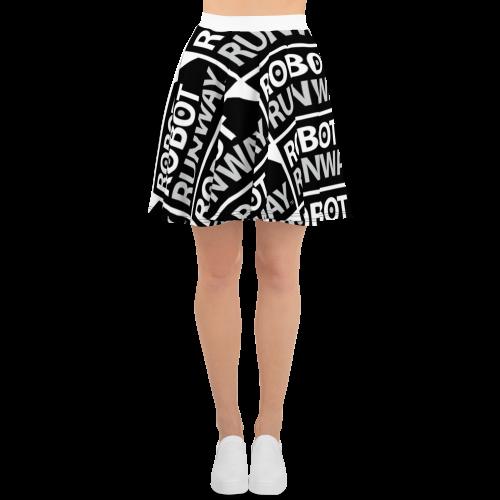 Robot Runway™ Black & White Logo Motif Skater Skirt