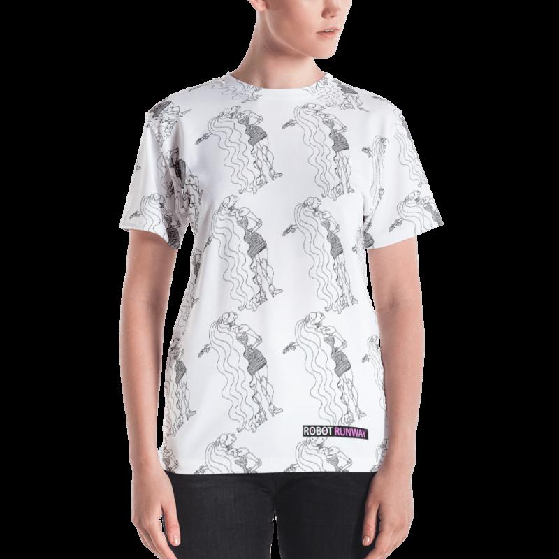 Robot Gifts Ideas - ROBOT RUNWAY LadyBot Black & White Women's T-shirt