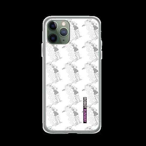 ROBOT RUNWAY Ladybot Black & White Motif iPhone Case
