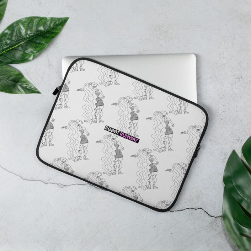 Robot Gifts Ideas - ROBOT RUNWAY Ladybot Black & White Laptop Sleeve
