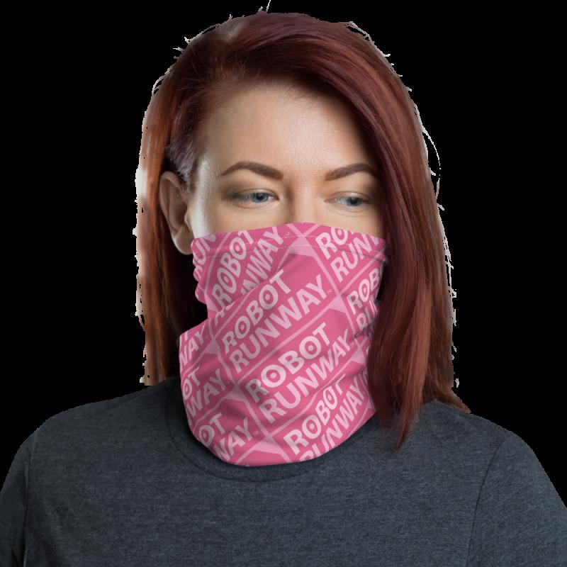 Robot Gifts Ideas - Robot Runway Pink Motif Face Mask Neck Gaiter