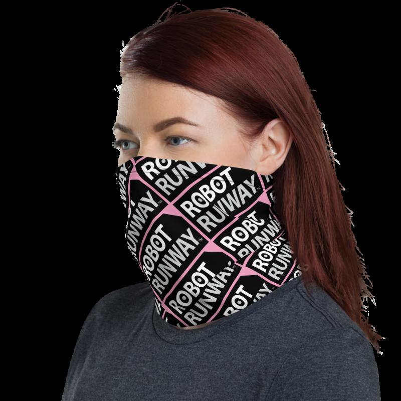Robot Gifts Ideas - Robot Runway Pink, White & Gray Face Mask Neck Gaiter