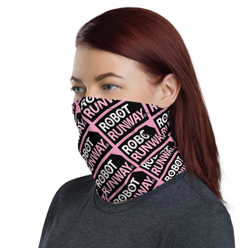 Robot Gifts Ideas - Robot Runway Pink, White & Black Face Mask Neck Gaiter